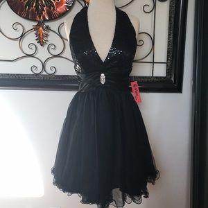 Black Halter Sequin A-line Dress